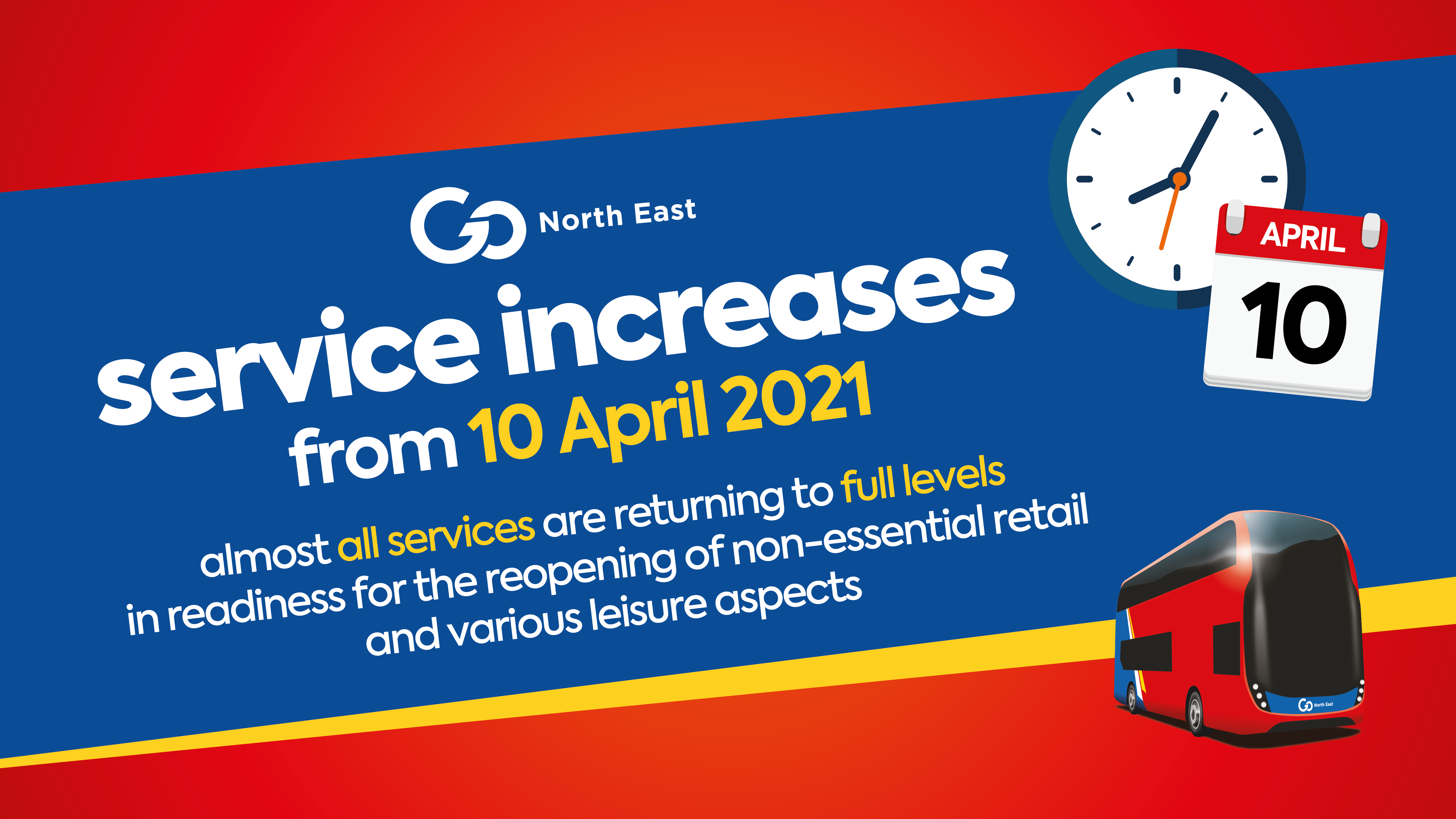 Service increases from 10 April