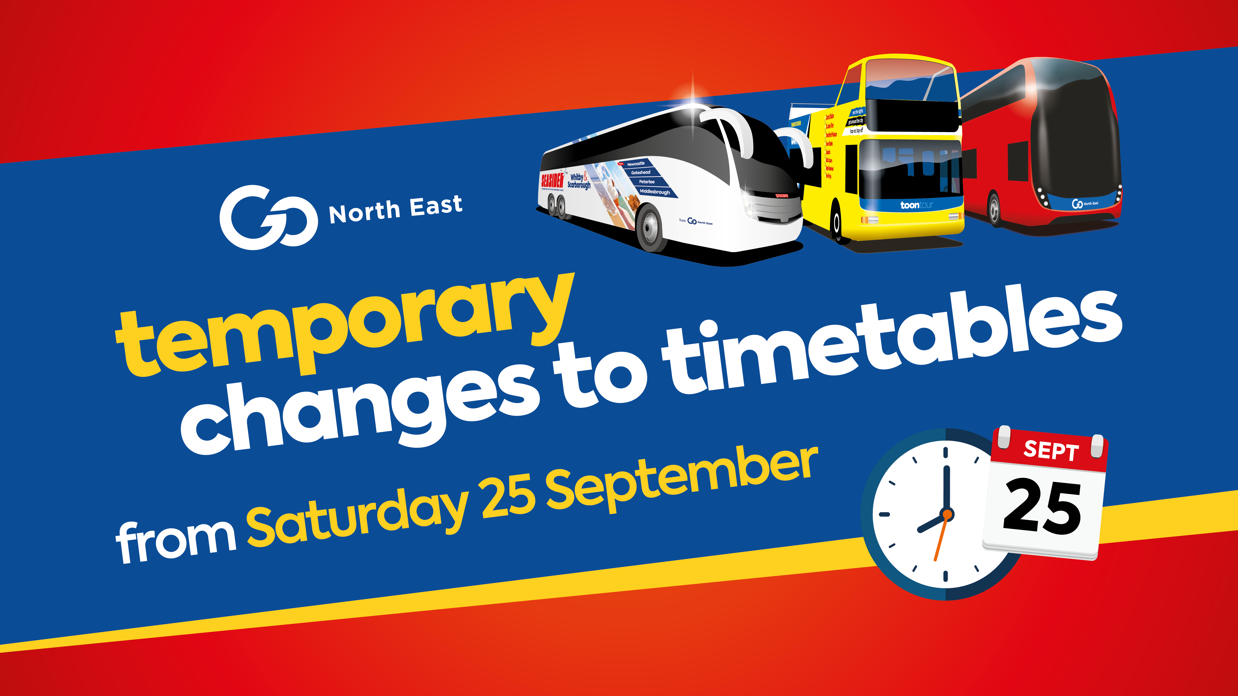 Temporary changes to timetables from 25 September