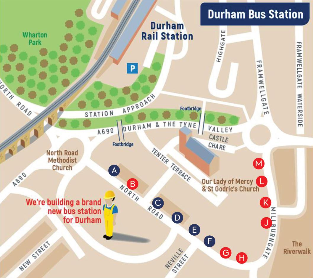 Durham bus stop map