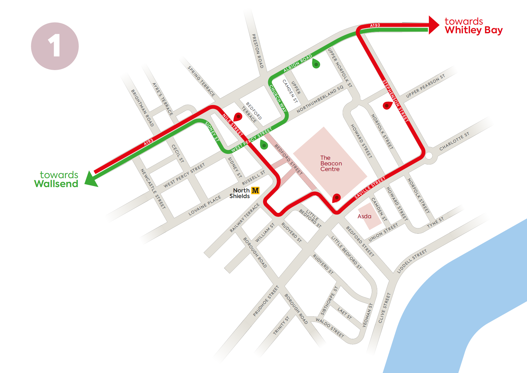 North Shields - Coaster 1 route change