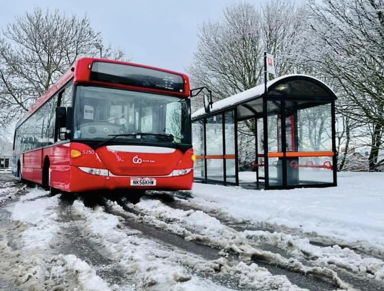 Go North East bus during the snow disruption