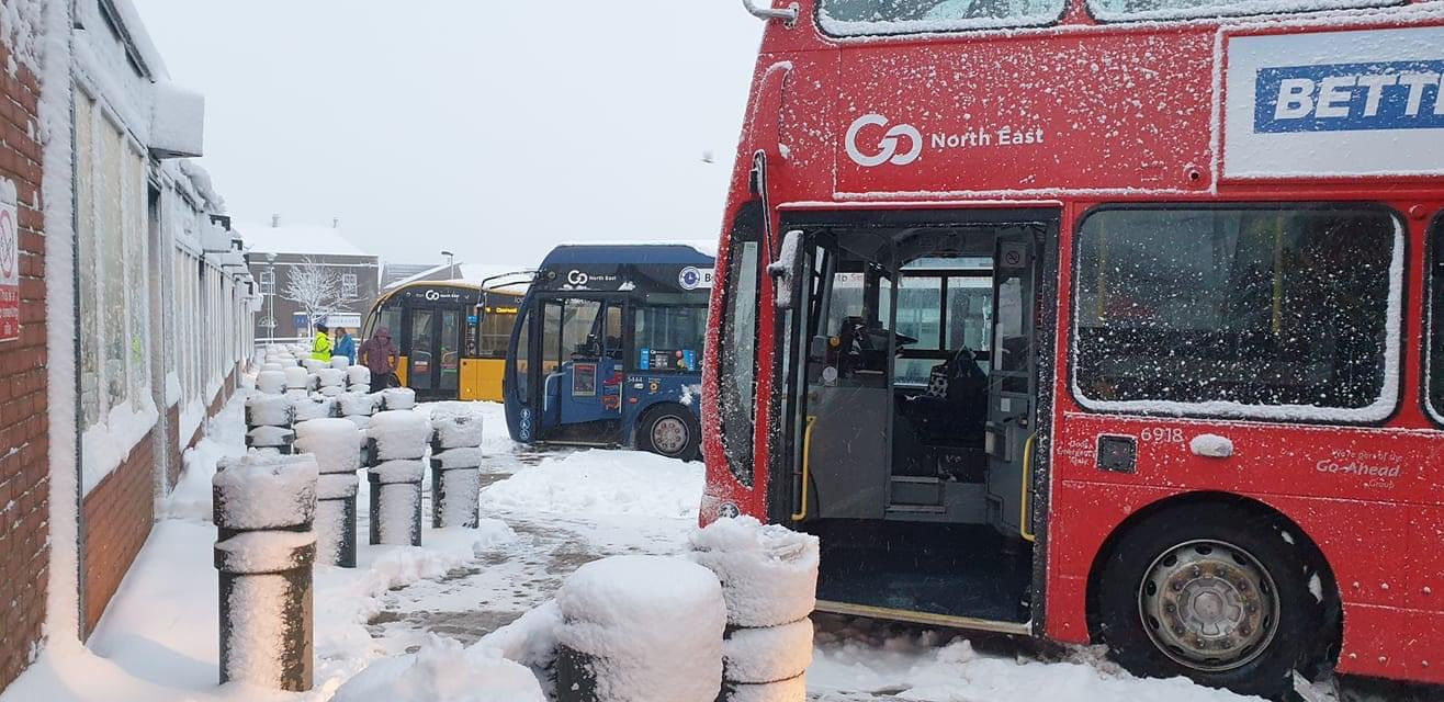 Go North East buses during the snow disruption