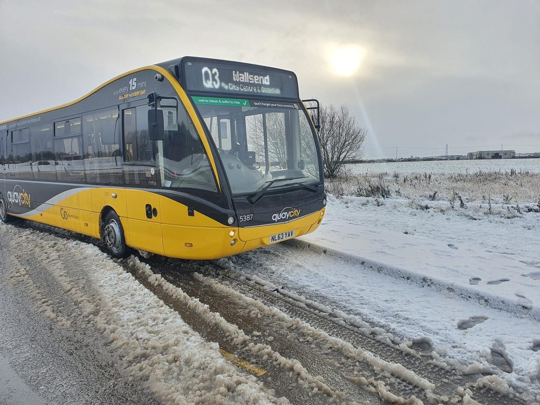 QuayCity bus during the snow disruption