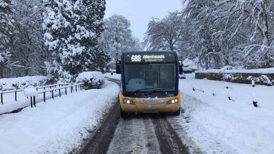 Tynedale Links bus during the snow disruption