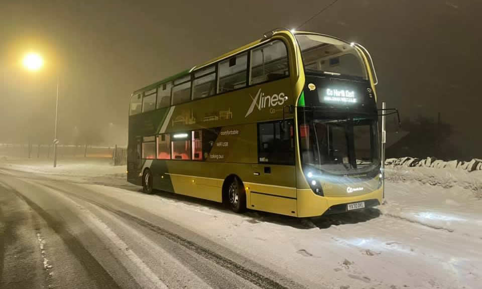 X-lines bus during the snow disruption