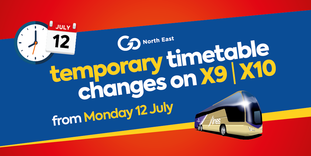 Temporary timetable changes on X-lines X9 & X10 from Monday 12 July